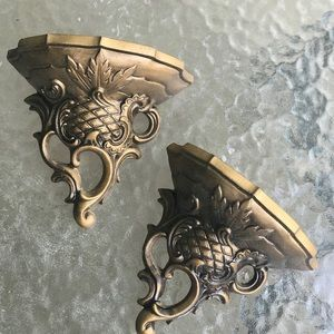 VINTAGE SCONCES PAIR Faux Bronze in Plaster
